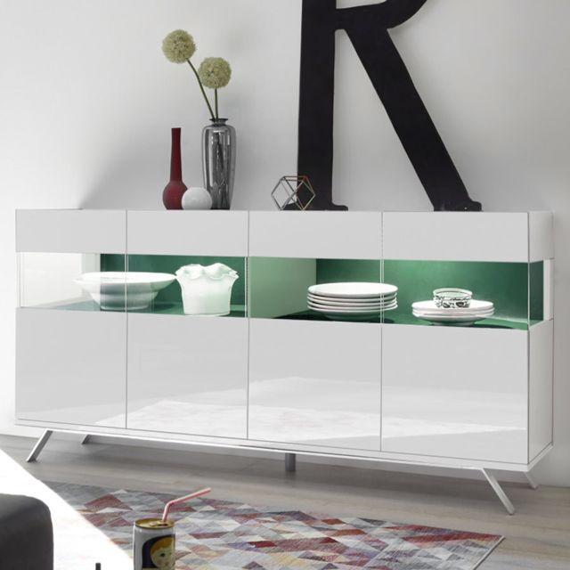 Kasalinea Buffet Led 4 portes design blanc et vert Palermo