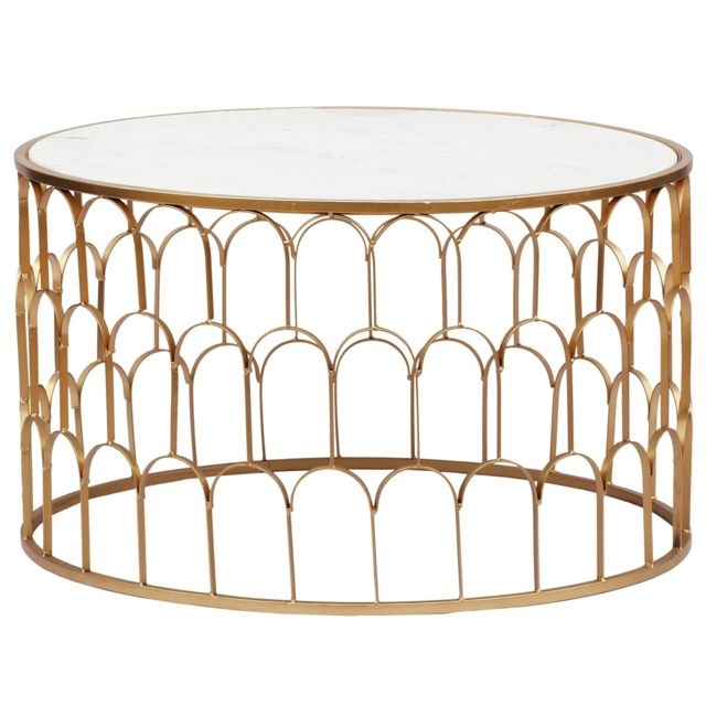 MENZZO Table basse Alban Marbre Blanc et pieds Or