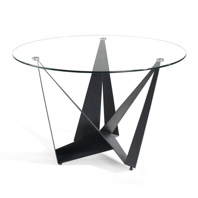 Tousmesmeubles   Table De Repas Ronde Verre/Noir Mat   Nogu