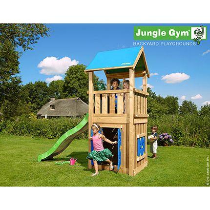 936484f7dc2c08 Aire de jeux en bois avec toboggan, maisonnette et bac à sable - Jungle  Castle
