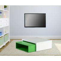 Kit A Faire - Table Basse 2 Cubes Superposable Coloris Blanc/VERT