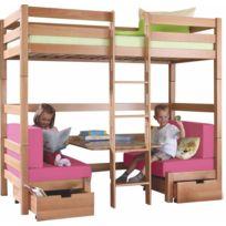 COMFORIUM - Lit superposé combiné en bois hêtre avec une table et 2 fauteuils coloris rose
