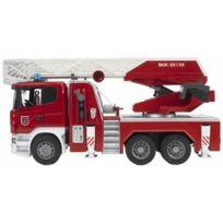Bruder - 3590 Véhicule Miniature Camion Pompier Scania R-série avec Echelle et Pompe à Eau Fonctionnelles Module Son et Lumière