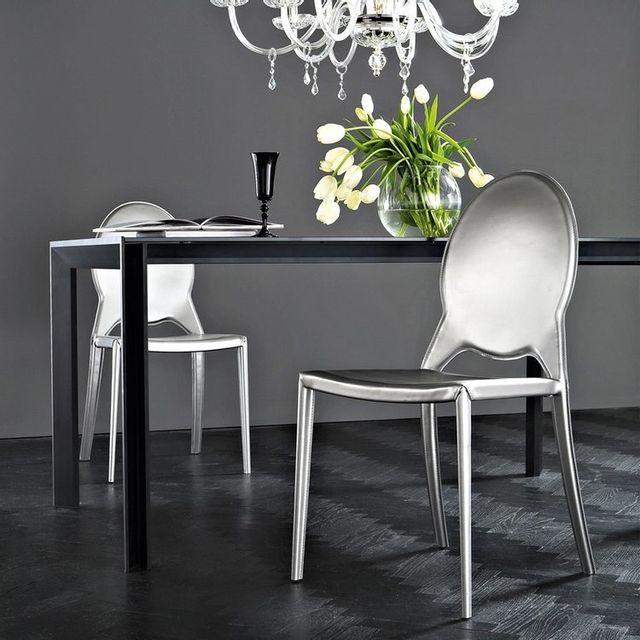 Domitalia Lot de 2 chaises design Marie - Imitation Cuir Argent