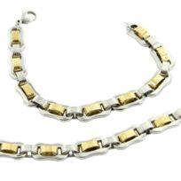 Metronhomme - Parure en Acier Argenté Doré Collier Chaine Bracelet Homme M H 1173