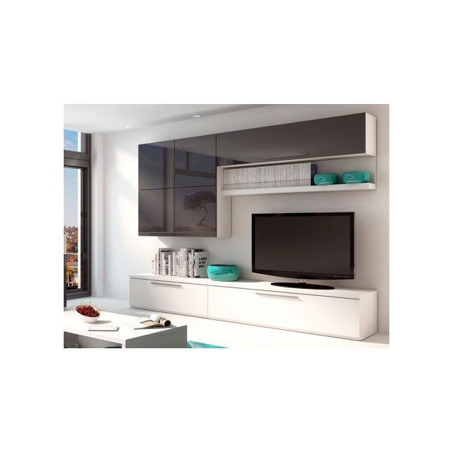 VENTE-UNIQUE Mur TV MAKASAR avec rangements - Anthracite laqué & blanc