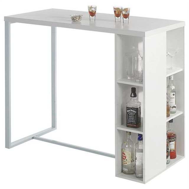 IDIMEX - Table haute de bar IBIZA MDF décor blanc mat