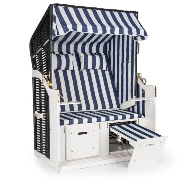 BLUMFELDT Hiddensee Chaise longue cabine plage XL 2 places rayures - bleu/blanc