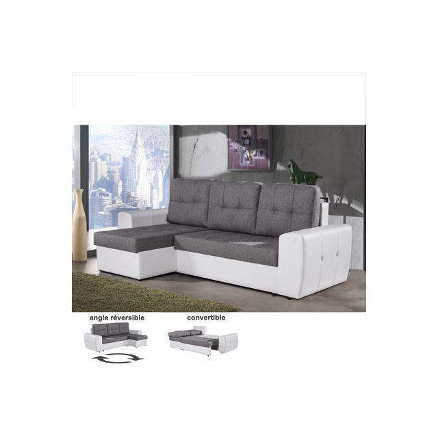 Canapé d'angle réversible convertible gris et blanc Haidi