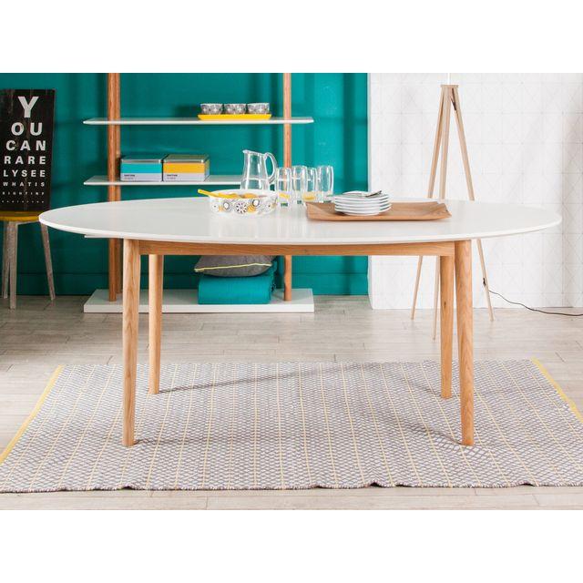 Kaligrafik table manger ovale en bois plateau laqu blanc pieds ch ne l190cm jacobson pas for Carrefour table a manger