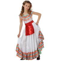 Ruedelafete - Déguisement Mexicaine - Enfant - Taille : 8/10 ans 126 à 138 cm