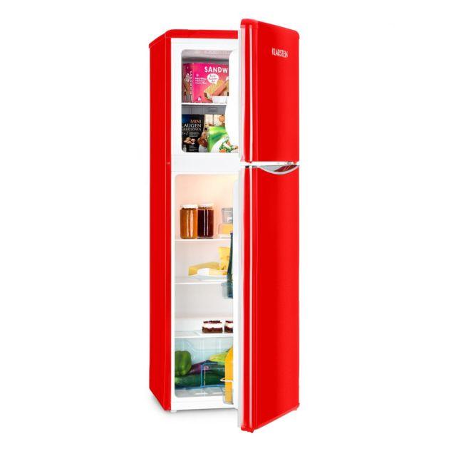 KLARSTEIN Monroe XL Red Combiné réfrigérateur 97 litres & congélateur 39 litres : Capacité totale de 136 litres - Classe énergétiq