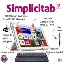 "ORDIMEMO - Tablette sénior 10.1"" Simplicitab 2/32 Go Clavier sans fil+Coque+Stylet"