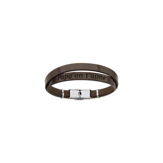 check-out 33f29 073b1 Bracelet acier et cuir bovin marron double modèle homme message caché