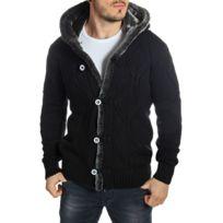 Carisma - Gilet en laine homme noir à capuche