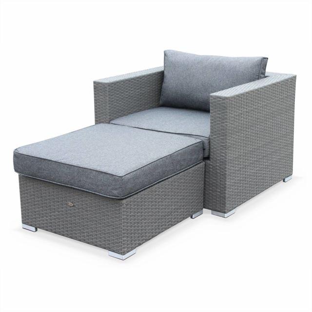 ALICE'S GARDEN Genova Gris / Gris - Salon de jardin Genova, fauteuil + pouf en résine tressée grise, coussins Gris