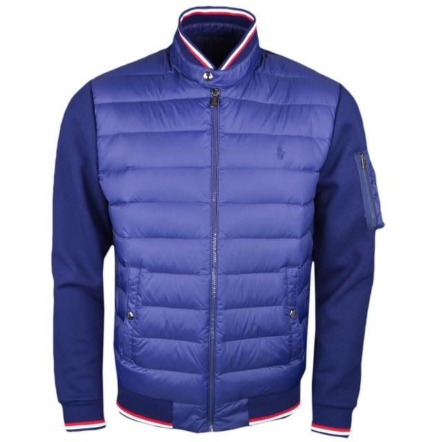 5671ea4989e002 RALPH LAUREN - Veste bi-matière bleu marine pour homme XXL - pas cher Achat    Vente Blouson homme - RueDuCommerce