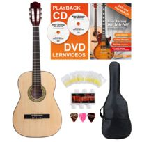 Classic Cantabile - Acoustic Series As-851-L guitare de concert 7/8 pour gauchers Starter-SET