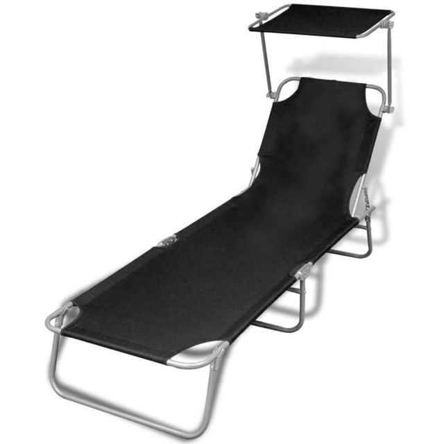 Vidaxl Chaise longue pliable avec auvent Noir 189 x 58 x 27 cm   Noir