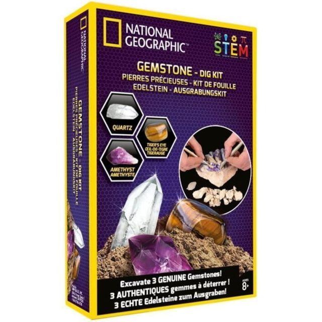 Icaverne Decouverte Nature - Decouverte Animaux - Decouverte Insectes National Geographic - Kit de fouille - 3 gemmes a extraire