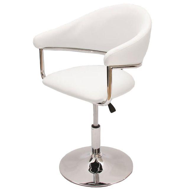 Mendler Chaise de séjour Como, réglable en hauteur, simili-cuir, blanc