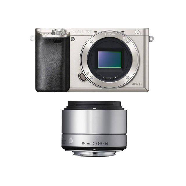 Sony Alpha 6000 Silver + Sigma 19mm 2.8 Art Garanti 3 ans