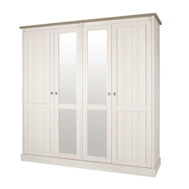 Nouvomeuble Armoire miroir couleur chêne blanc Yuka