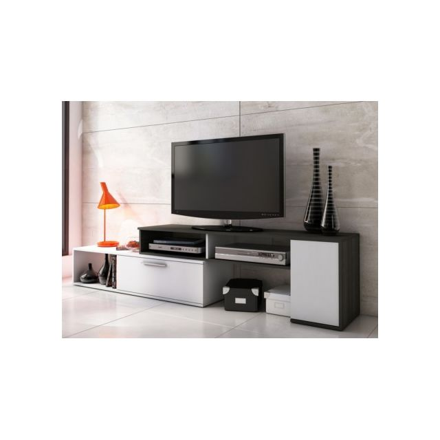 VENTE-UNIQUE - Meuble TV extensible et modulable DARYL - Wengué ...
