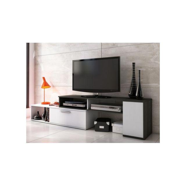 Meuble TV extensible et modulable DARYL - Wengué & blanc