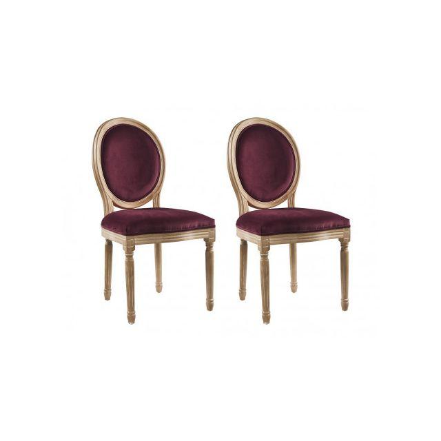 9254b06c1fe75c MARQUE GENERIQUE - Lot de 2 chaises LOUIS XVI - Velours - Coloris prune