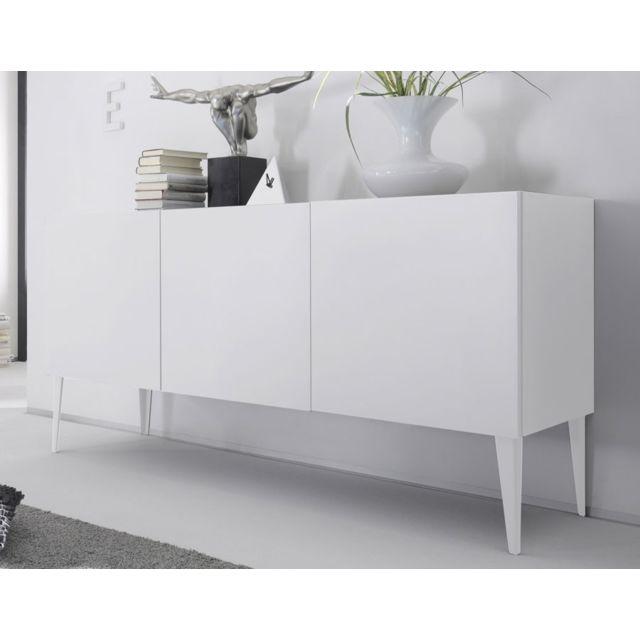 Nouvomeuble - Buffet design blanc laqué mat 3 portes Valerona - pas ...