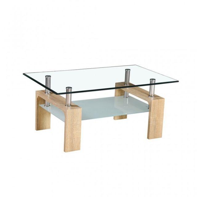 Zons Table basse en Verre 100x60xH44cm Pieds Look Bois