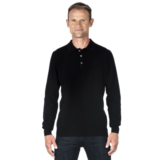 Pull homme cachemire 100% col polo noir