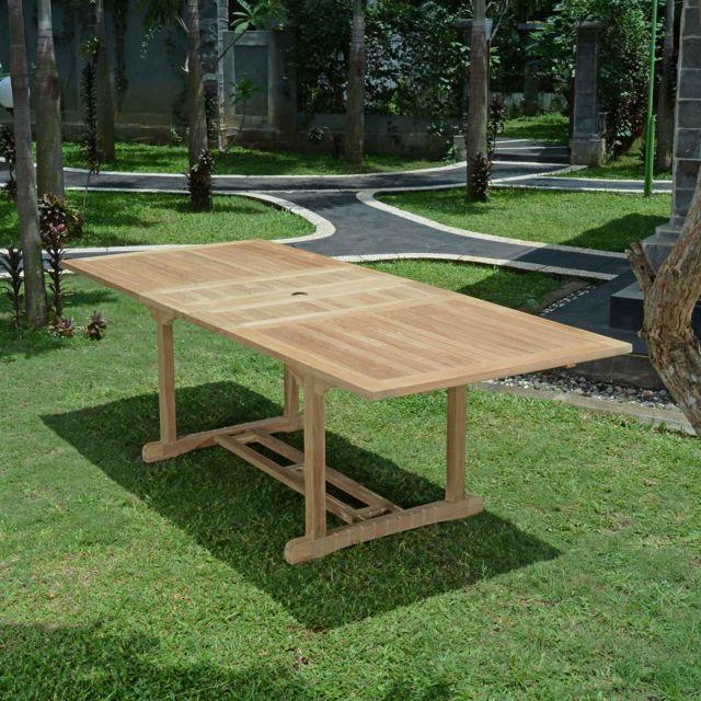 Teck'ATTITUDE Table extensible rectangulaire teck Ecograde© Milan 180/240 x100 cm
