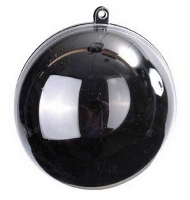 1001DECOTABLE Boule transparente plexi noire Lot de 10