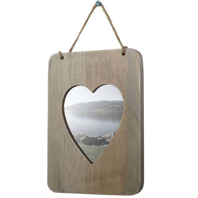 Mendler Cadre photo Wels, cadre en bois, style shabby, style cottage, coeur