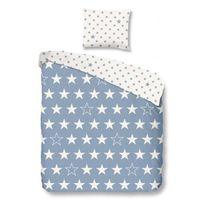 Good Morning - Parure de couette Stars - 1 housse de couette 140x200 cm + 1 taie 60x70 cm bleu et blanc