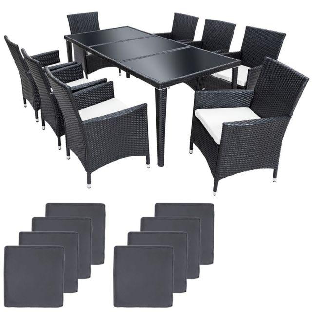 Autre Salon de jardin 8 chaises rotin résine tressé synthétique noir + coussins + housses 2108005