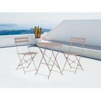 Ensemble de jardin - Table et 2 chaises en acier gris - Fiori