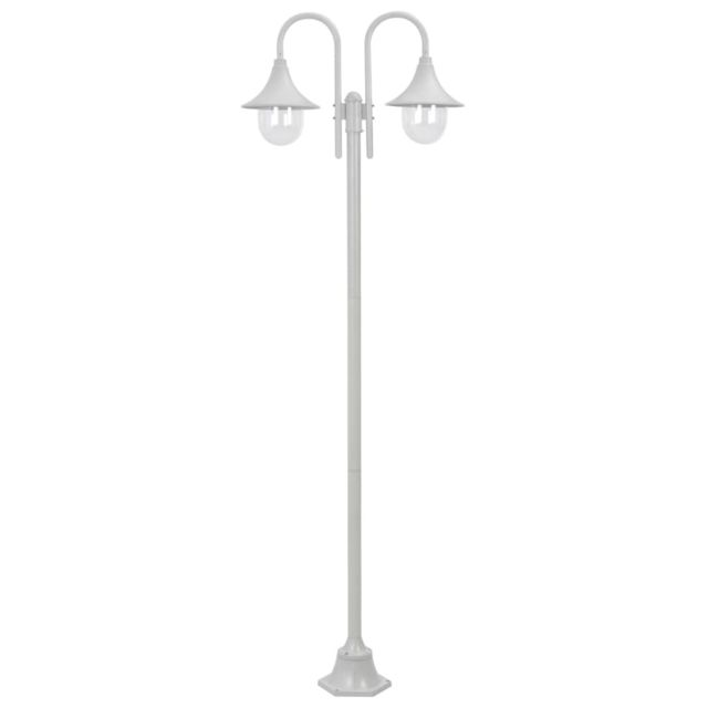 vidaXL Lampadaire de Jardin E27 220 cm Aluminium 2 Lanternes Blanc Terrasse