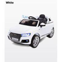 Caretero - Voiturette électrique avec klaxon mélodies lumières Led port Usb Mp3 MicroSD télécommande enfant 3+ Audi Q7 | Blanche