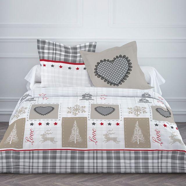today housse de couette 220x240cm st dalmas 100 coton gris beige 220cm x 240 cm pas cher. Black Bedroom Furniture Sets. Home Design Ideas