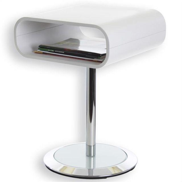 IDIMEX Sellette guéridon table d'appoint VICTORIA métal chromé et bois blanc mat