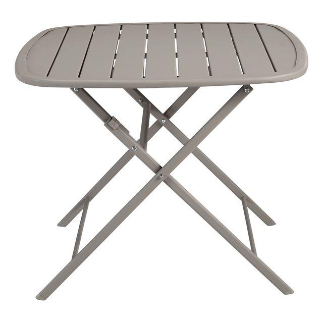 CARREFOUR - OPTIMISTIC - Table carrée pliante Acier151 taupe ...