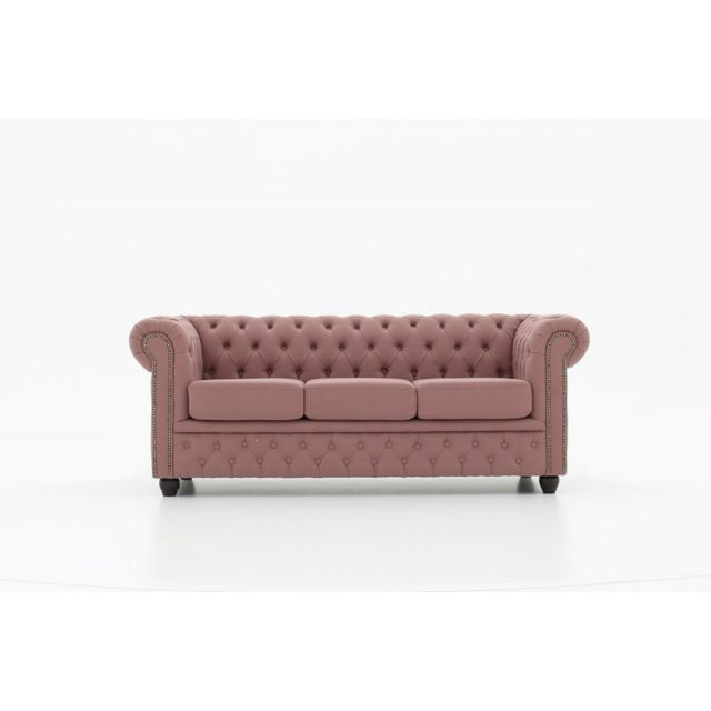 CHESTERFIELD Canapé 3 places tissu Pitch Rose veilli
