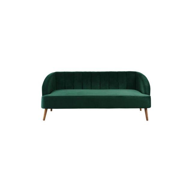 Sans Marque Pauline Canape Droit Fixe - 3 Places - Velours Vert - Vintage - L 194 X P 72 Cm