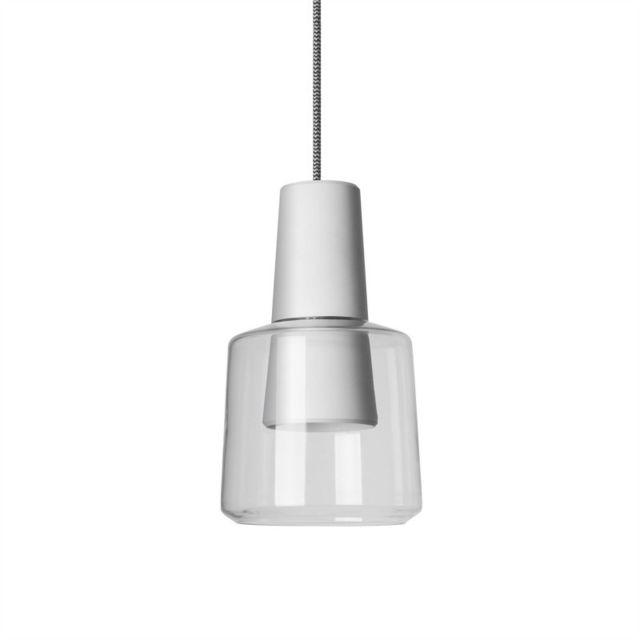 Leds C4 Suspension Khoi, aluminium et verre, blanc