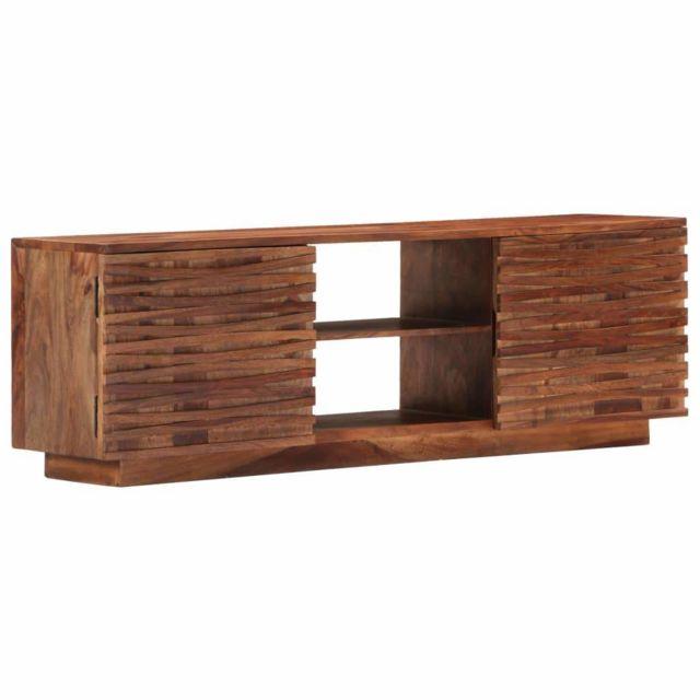 Helloshop26 Meuble télé buffet tv télévision design pratique 120 cm bois de sesham solide 2502060