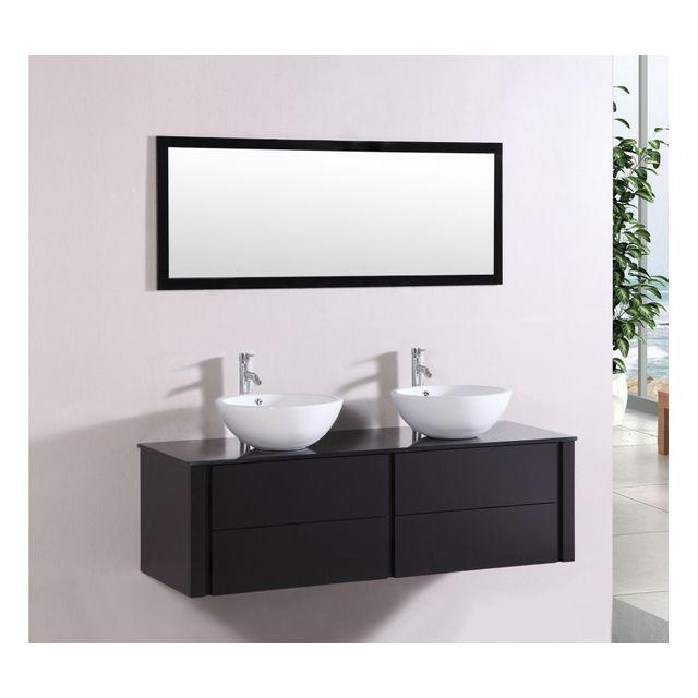 Rocambolesk Magnifique meuble de salle de bain complet polka wenge : ensemble salle de bain meuble + 2 vasques + 1 miroir