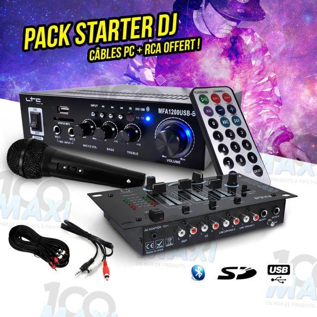Ibiza Sound Pack Sono Dj Pa Ampli 100W Usb/SD/BT + Micro + Table de mixage 3 voies/5 entrées + Câbles